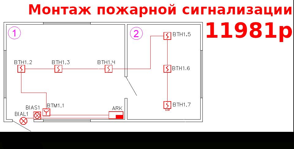 Монтаж пожарной сигнализации за 11981р.